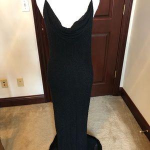 Black Beaded Sheath Gown